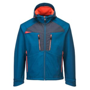 DX474MBR-Blaue Kapuzen Arbeitsjacke mit orangem Reissverschluss