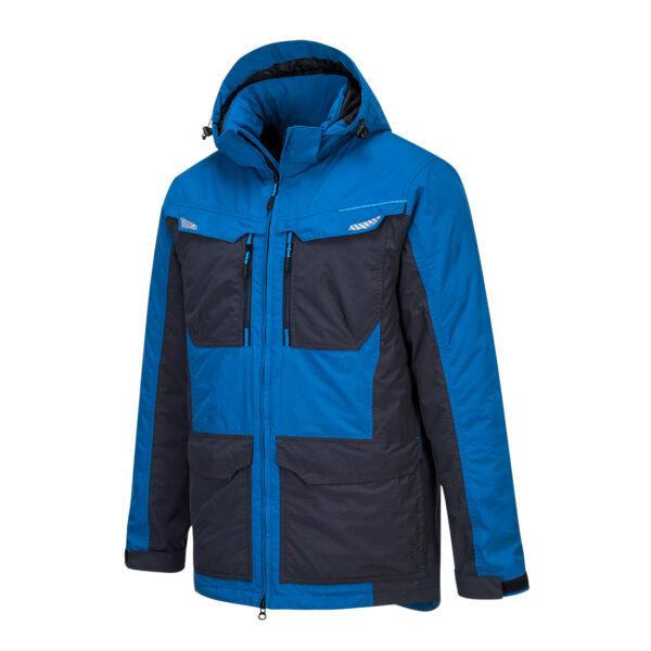 T740 Winter-Arbeitsjacke Blau seitlich vorne