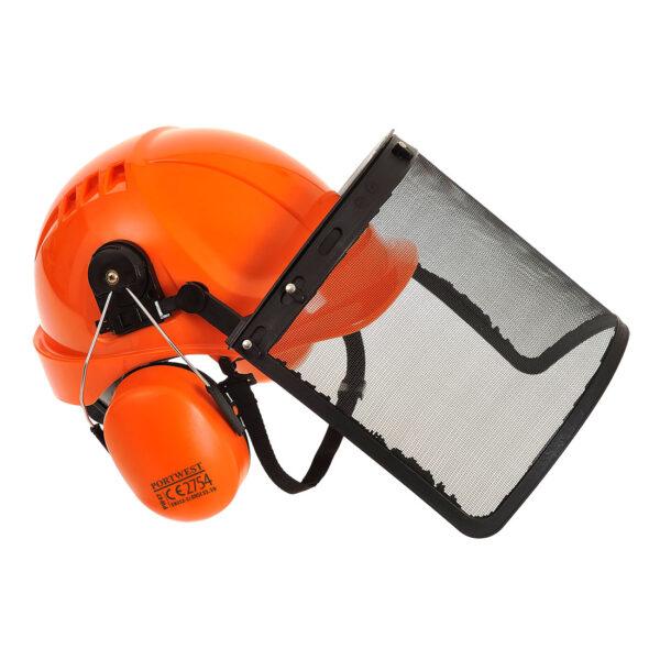 Waldarbeiter Schutzhelm Set mit Gittervisier und Ohrenschutz PW98 Portwest orange seite